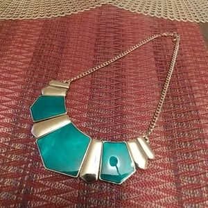 Green and gold statement necklace